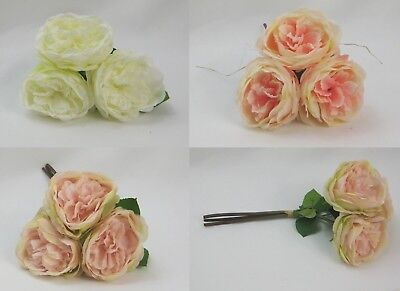 Artificial Silk Rose Bunches, Ivory, Dusky Pink, Baby Pink, Wedding Flowers