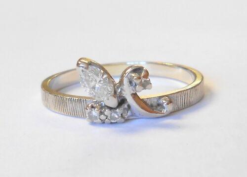 Vintage Signed FJG 14K White Gold & Diamond Ladies Band Ring Size 9.75