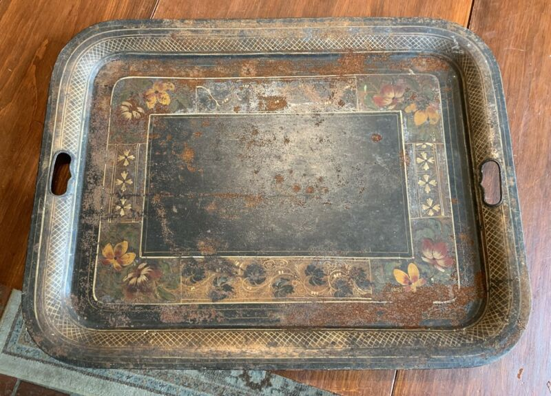 Large Antique Painted Tin Tole Toleware Serving Platter Tray