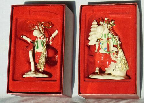 Lenox MOOSEAGES JOY/NOEL-HAPPY HOLIDAYS. Marcel The Moose.2 Ornament Lot.EX Cond