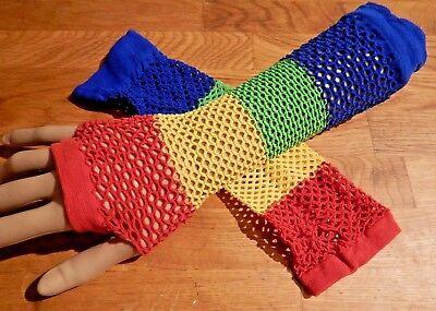 RAINBOW FISHNET ARM WARMERS raver costume pride lgbt cyber fingerless gloves 5V](Fishnet Arm Warmers)