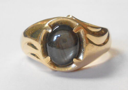 Vintage 1950s Mens 10K Yellow Gold Black Sapphire Wide Heavy Ring Size 11
