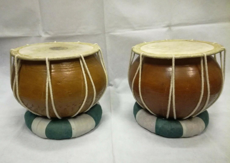 """Indische TABLA Trommel ORIGINAL Ø 9"""", H:6,5"""" 2x Bayan, laut, hell, durchdringend"""