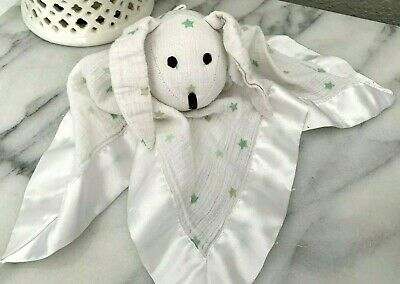 Aden + Anais Bunny Rabbit Lovey Security Blanket Musy Mate Stars White Green Tan