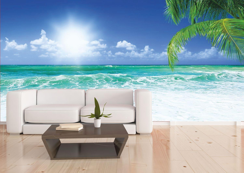 Wallario Premium Glasbild Meer Karibik 20 x 20 cm Sonnenboot unter Palmen