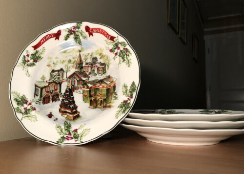 4 vtg winter garland merry christmas tree holiday exclusive charter club plates