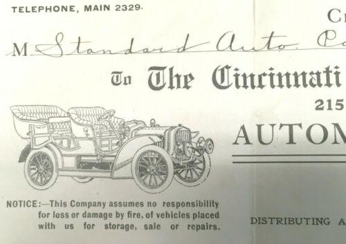 Letterhead Invoices 1904-08 Cincinnati Automobile Co Suburban Auto Hanauer Auto