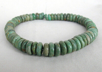 Vintage Green Turquoise Rondelle/Disc Graduated Beads 9mm-15mm - 12-1/4