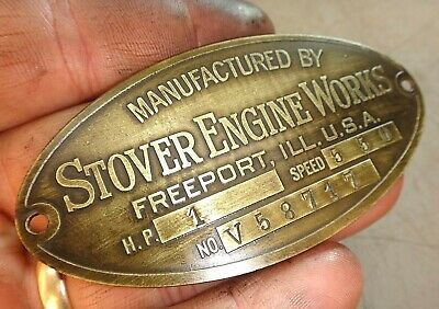 1hp Stover V Original Name Tag Hit And Miss Old Gas Engine