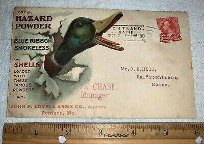 ANTIQUE 1898 HAZARD POWDER MALLARD DUCK HUNTING SHELLS GUN RIFLE ENVELOPE SIGN