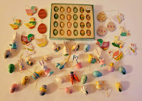 VTG LOT of 70 MINI EASTER TREE ORNAMENTS Painted Wood and Resin EGG BUNNY BIRD