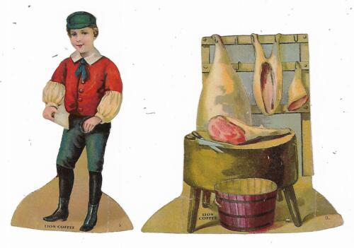 Old Die Cut Trade Card LION COFFEE Butcher No. 9 Meat Market Two Parts
