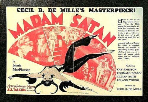 *RARE* MADAM SATAN MOVIE HERALD 1930 - KAY JOHNSON, REGINALD DENNY