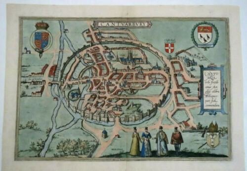 Antique map of Kent - Canterbury by Braun & Hogenberg C1588 England Cantvarbvry