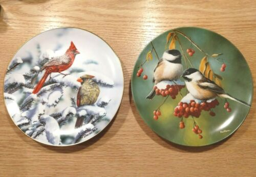 Lot of 2 Plates Driscoll Cardinals and Knowles Chickadees Porcelain Plates 8 1/2