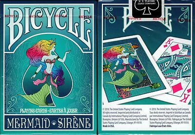 Mermaid Teal Bicycle Playing Cards Poker Size Deck USPCC Custom Limited - Mermaid Customes