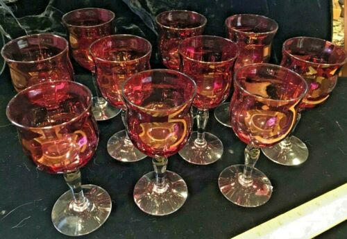 Vintage Cranberry Wine/Cordial Stems Set of 10 with Clear Base