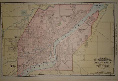Vintage 1892 ~ TOLEDO ~ Map Old Antique Original World Atlas Map 81717