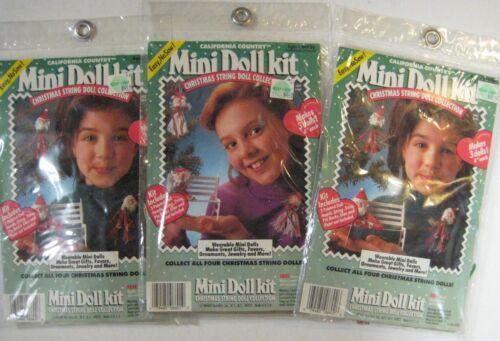 """Lot of 3 CHRISTMAS STRING Mini Doll Kits Santa Angels NEW NIP 4"""" Dolls No-Sew"""