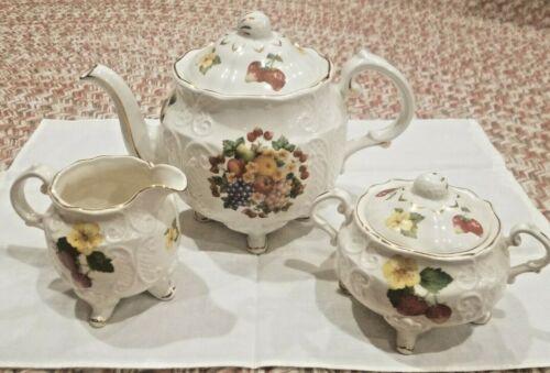 Vintage Crown Dorset Staffordshire England Tea Set - gold-trimmed with fruits