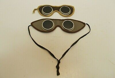 Vintage 2 Pairs Of Leather Welders Goggles Tinted One W Strap One Wout