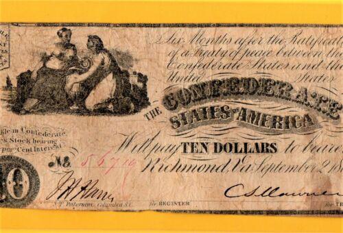 1861 $10 CONFEDERATE NOTE T-28 - VERY FINE