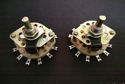 Ceramic Rotary Switch 4 Pole 2 Pos 4p2t Silver Contacts 3a 350v Nos Lot Of 2pcs.