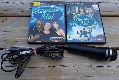 PS2 American Idol Karaoke BUNDLE: OFFICIAL KONAMI MIC + Games Konami American Idol Games
