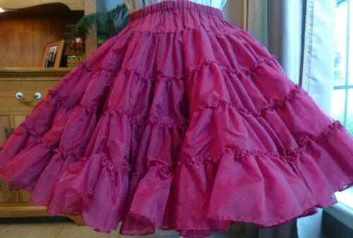 Square Dance Petticoat Garnet / Dark Red Crystal Iridescent Sz S-M Adjustable