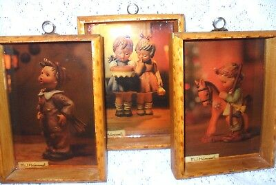 "Vintage MJ Hummel ""HAPPY BIRTHDAY"" Set of 3 FRAMED Lithograph 5x3.5 Children ART"