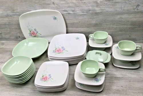 Vintage 40 Pc Set Harmony House Talk of the Town Melmac Rose Floral & Mint Green