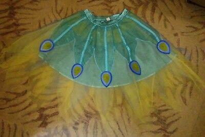 Turquoise Peacock Costume tulle Skirt Carnival Feather girls size 7/8 Halloween (Peacock Skirt Halloween)