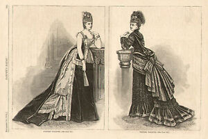 Victorian-Fashion-View-Evening-Visiting-Dress-Original-1874-Antique-Art-Print