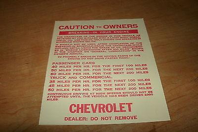 1953 1954 1955 56 1957 Chevrolet Impala Bel Aire Nomad Biscayne Car Dash Tag