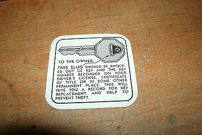 1936 - 1955 Cadillac Glove Box Key Instructions Decal Sticker Tag