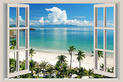 Beach Ocean Palm Trees Window View Repositionable Color Wall Sticker Mural 3 FT ()