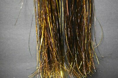400 Strand,  BLACK & GOLD Flashabou Tinsel Fly Flash for Fly Tying](Black Tinsel)