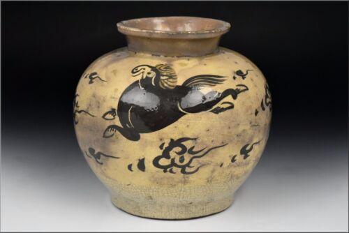 Ming Dynasty 14th / 15th Century Chinese Cizhou Pottery Vase w/ Horse