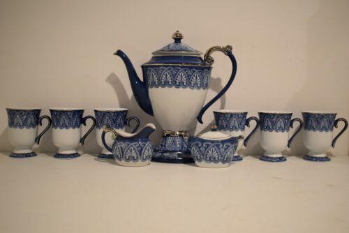 Bombay Blue/White Porcelain Tea Set Teapot; Cups; Creamer; Sugar Bowl - 9 Pieces