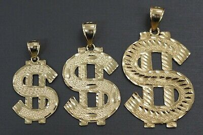 Real 10k Solid Yellow Gold Flat Diamond Cut Dollar Money Sign Charm Pendant. - Money Sign Yellow Pendant