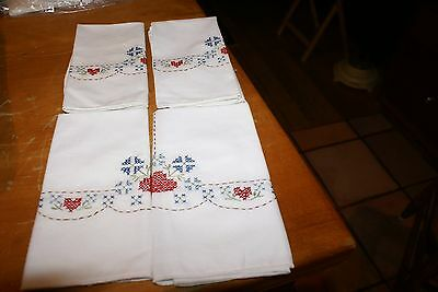 SET OF 8 COTTON NAPKINS(4)RED CHECKERED (4)WHITE  BOTH EMBROIDERED](Red Checkered Napkins)