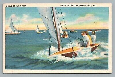 "Sailing ""Full Speed"" NORTH EAST Maryland—Vintage Linen Sailboat CHESAPEAKE 1940"
