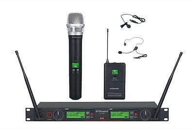 Used, GTD Audio 2x100 Ch UHF Headset Lavalier Wireless Microphone Mic System 733HL for sale  Shipping to Nigeria