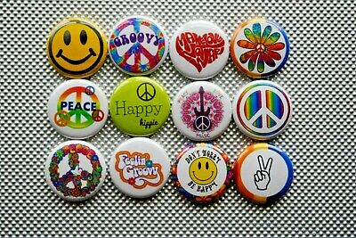 Peace sign make Love Hippie 70s Buttons Pins 1 Inch Badge Lot 1