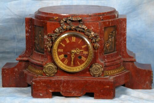 Massive Antique French Rouge Solid Marble and Bronze Clock 19th Century