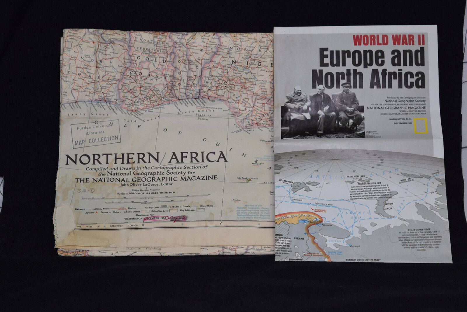 Vintage Lot Northern Africa Europe WWII Maps National Geographic 1954 & 1991