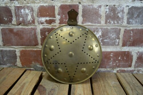 Vintage Bed Warmer Pan Copper with Star Design Missing Handle