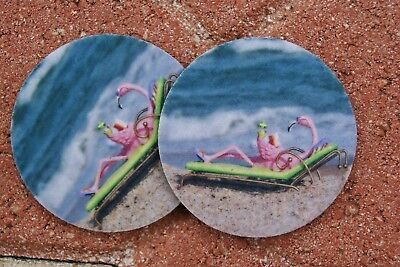 Flamingo on the Beach Car Coasters (2) by Rose West Photo - absorbant, - Photo Coaster