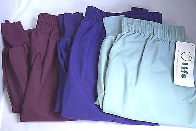 Life Uniform Scrub Pants NWT Elastic Waist Tapered Leg Burg Green Purple L 3XL ()