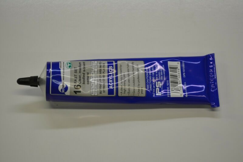 Plexiglass sheet PLASTIC GLUE 1.5 oz tube ips weld-on # 16  acrylic cement   1.5